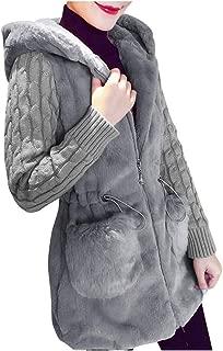 HebeTop Women Unisex Zipper Button Down Knitted Sweater Cardigans Hooded Jackets