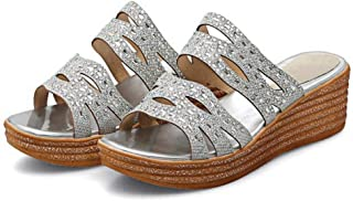 Womens Glitter Cutout Platform Wedge Slides Sandals Slip on Peep Toe High Heels Mules Sandal Women's sandals