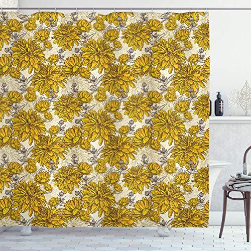 ABAKUHAUS Blumen Duschvorhang, Vintage Blumenstrauß Botanik, mit 12 Ringe Set Wasserdicht Stielvoll Modern Farbfest & Schimmel Resistent, 175x220 cm, Braun Gelb Beige