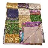 gypsiastudio Indian Silk Sari Tagesdecke Kantha Decke