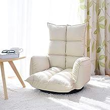 BRSL أريكة ليزي كرسي فردي قابل للطي الترفيه غرفة المعيشة كراسي غرفة النوم (اللون: أبيض)