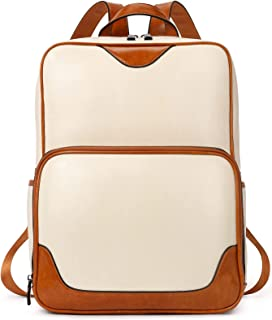 Sponsored Ad - BROMEN Leather Laptop Backpack for Women College Casual Backpack Travel Bag Beige