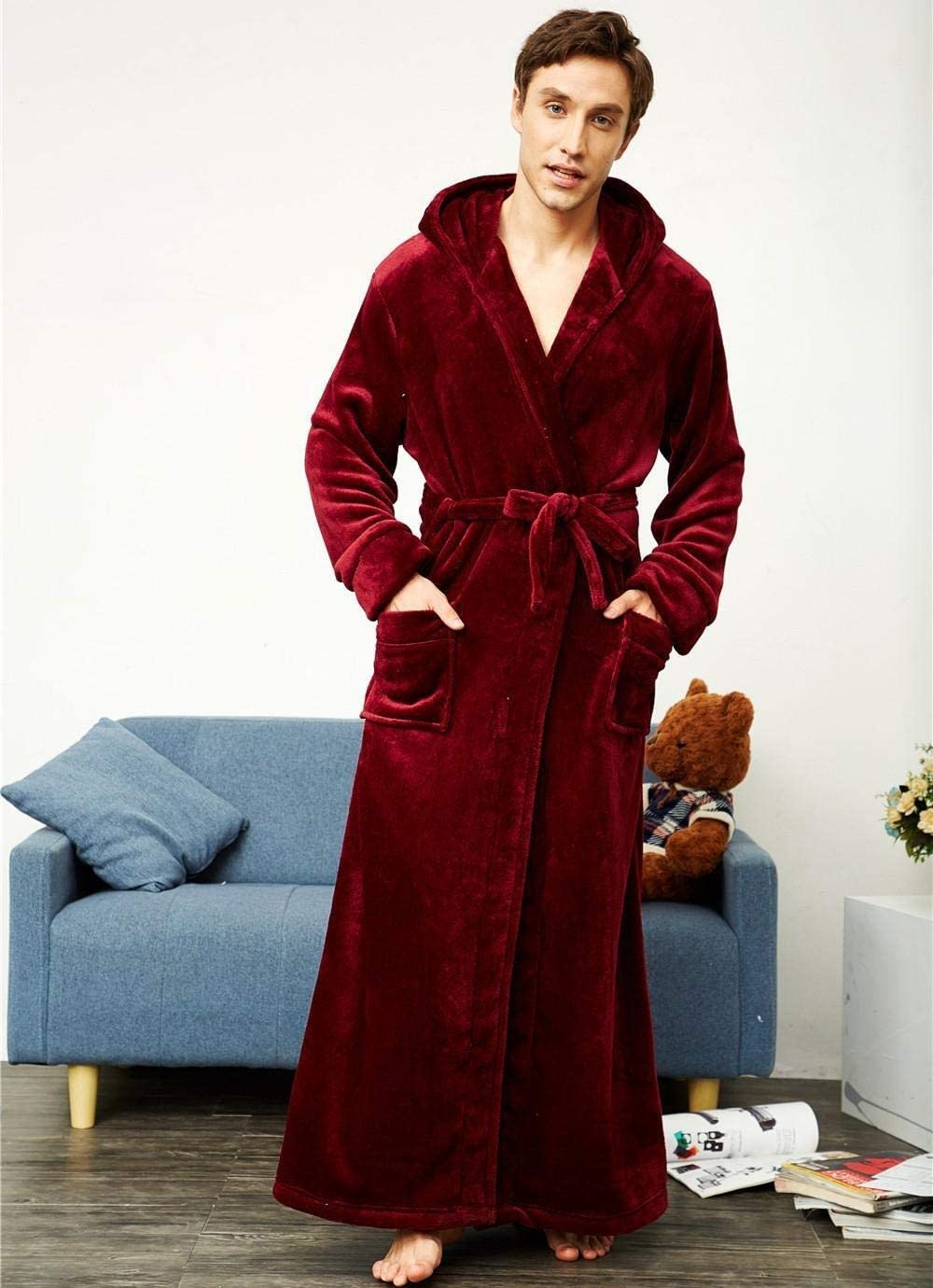 QYLLXSYY Winter Robe Winter Warm Ultral Long Flannel Men Robe Gown Casual Loose Hood Sleepwear for 130KG Bathrobe Men Women Thick Large Home Clothes (Color : Men Red, Size : L)