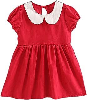 Soly Tech Little Girls Cotton Linen Dresses Short Sleeve Doll Collar A-line Dress