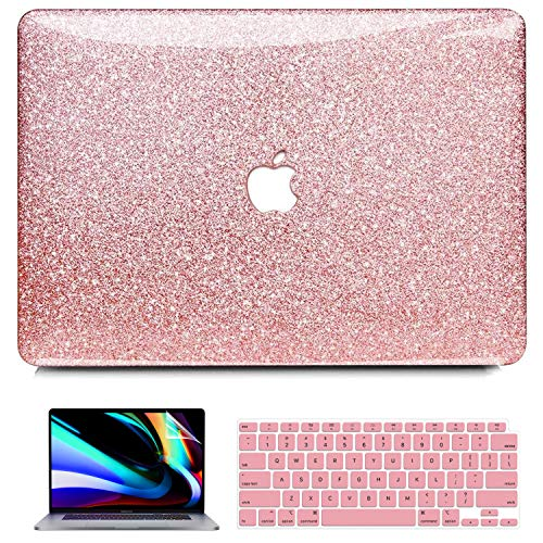 iPAPA MacBook Air 13 inch Case 2020 2019 2018 Release A2337 M1 A2179 A1932 with Retina Touch ID, Glitter Sparkly Glossy Plastic Hard Case + Keyboard Cover + Screen Skin, MacBook Air 2020 M1 Case