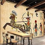 Yasdc Fototapete 3D Vlies Tapete Natur 3D Effekt Wohnzimmer Newroom Design Tapete Moderne Wanddeko Benutzerdefinierte 3D Retro Ägypten Charakter Fresko-128cmX100cm