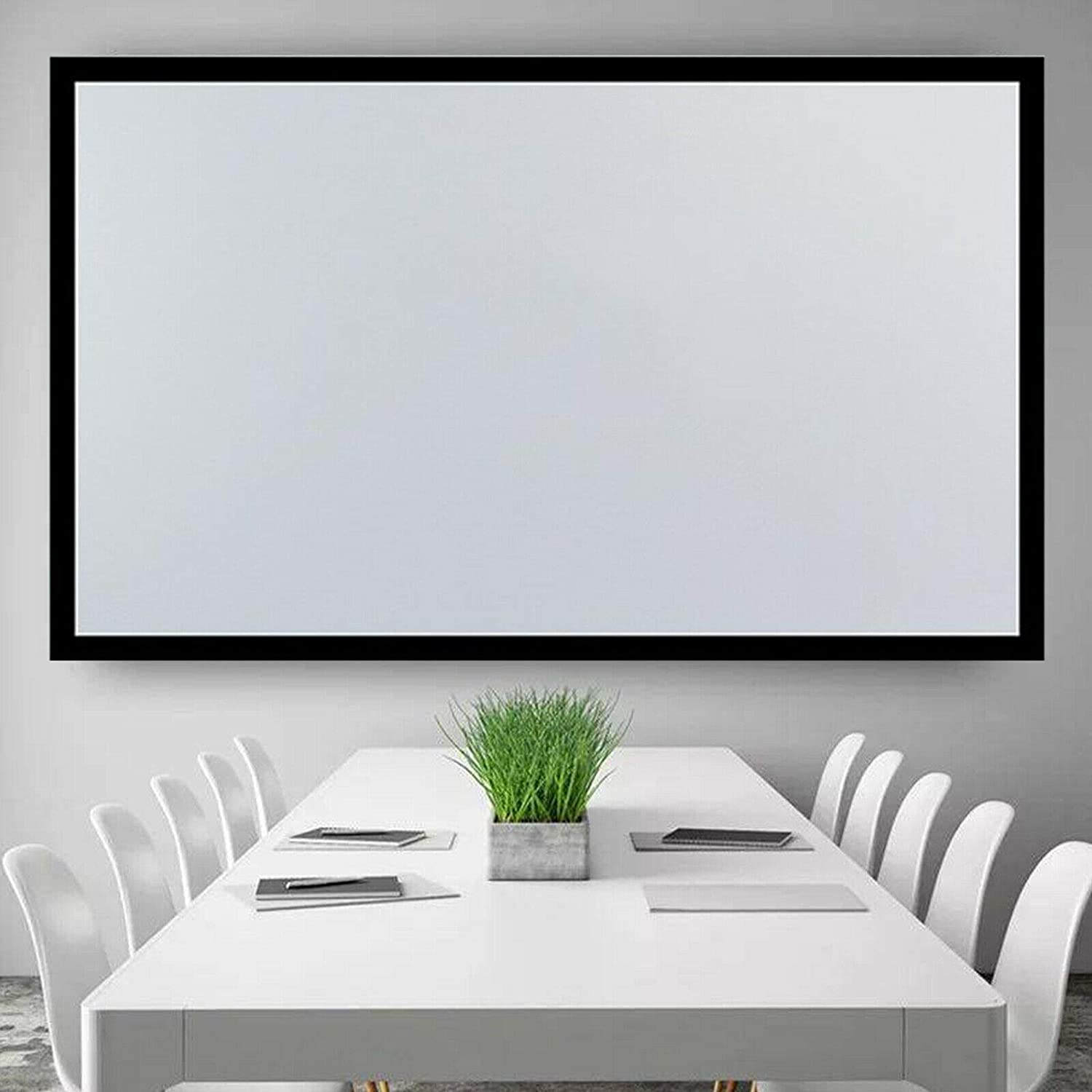 135-Inch Wall-Mounted Projector Screen, Us Fixed Aluminum Frame Projector Screen Home Theatre Hd Tv Projection PVC Wall Mount Movie Curtain Film Theater Wall-Mounted Cinema Portable