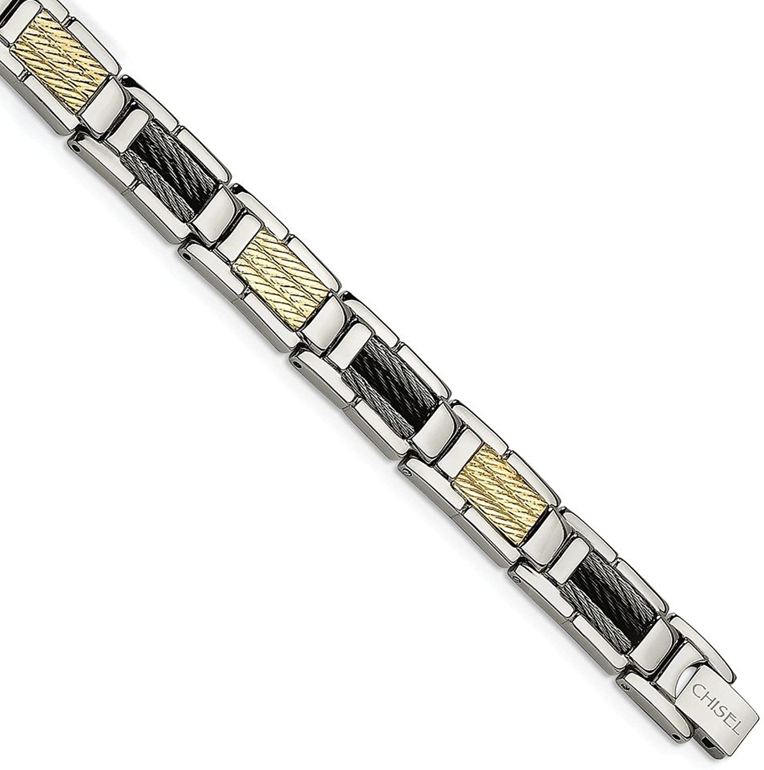 Beautiful Stainless Steel Black IPPlated Wire and 14K 8.5in Bracelet
