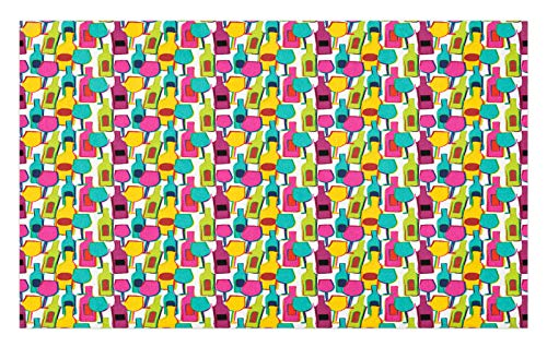ABAKUHAUS Vino Tapete, Botellas y vidrios de Colores, Decorativo con Fieltro de Poliéster Estampado Base Antideslizante, 45 cm x 76 cm, Multicolor