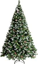 Snow Flocked Artificial Christmas Tree Xmas Tree with Pine Cone, Metal Stand, Green Pine Needles, for Christmas DIY Craft ...