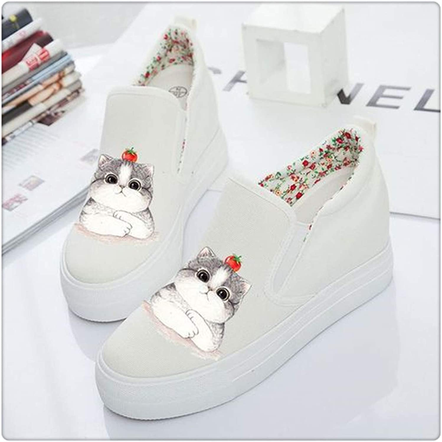 Sweet Women's shoes Platform 2019 Autumn Slip on Canvas shoes Women Loafers Casual Espadrilles White Black Creepers White xihongshi Mao 4.5