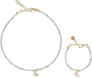 سلسال واساور مطلي بالذهب مع فراشة للاطفال من الوان اكسيسوريز - EE3862XSSHS