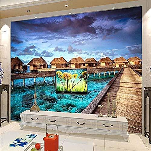 Bridge House houten behang met blik op de zee in landschapsstijl HD kunstdruk wandschilderij poster grote grootte wandbehang doek slaapkamer modern 3D fotobehang woonkamer 400cm×280cm