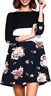Womens 3/4 Sleeve Tshirt Dress Floral Color Block Striped Casual Short Tunic Dresses