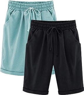 Yknktstc Womens Plus Size Elastic Waist Cotton Linen Casual Beach Shorts with Pockets