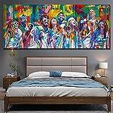 KWzEQ Retrato Abstracto Pintura al óleo Imagen del Cartel Arte de la Pared Sala de Estar decoración Pintura para la decoración del hogar Pintura,Pintura sin Marco,75x150cm