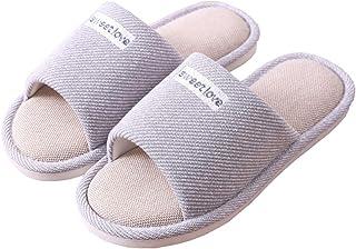 Cliont Mujer Niñas Hombre Linda Gato Zapatillas de Interior Suaves Zapatillas de Punta Abierta de algodón en casa Zapatill...