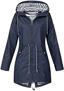 iHENGH Damen Frühling Sommer Mantel bequem Solide Regenjacke Outdoor Jacken mit Kapuze Regenmantel Winddicht Parka Coat