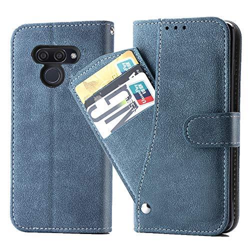 Asuwish LG K50 Hülle,Leder Lederhüllen klappbar Schutzhülle Wallet Hülle Mit Kartenfach Ständer Stand Dünn Stoßfest Panzerglas + Handyhülle für LG K50/Q60/X6/K12 MAX Blau