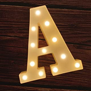 MUMUXI LED Marquee Letter Lights 26 Alphabet Light Up Marquee Number Letters Sign for Wedding Birthday Party Battery Powered Christmas Lamp Night Light Home Bar Decoration (A)