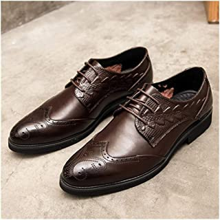 Leather Brogue Carving Oxfords for Men Formal Business Shoes Lace up Genuine Leather Block Heel Embossed Perforated shoes (Color : Brown, Size : 38 EU)