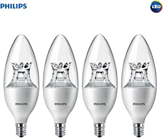 Philips LED Dimmable B12 Soft White Light Bulb with Warm Glow Effect 330-Lumen, 2700-2200-Kelvin, 4.5-Watt (40-Watt Equivalent), E12 Base, Clear, 4-Pack
