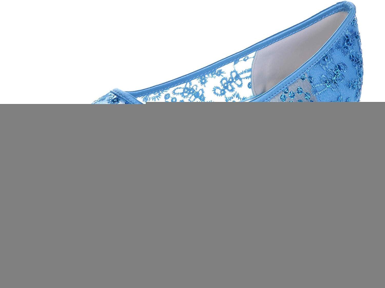 LLBubble Women Comfort Flat Lace Wedding Bridal shoes Low Cut Pointed Toe Sequin Ballet shoes 2046-18
