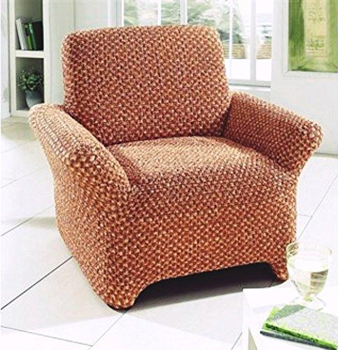 Gardinenbox.eu Husse, Sessel-/Sofaüberwurf, 1-Sitzer, Gaico, 1 Stück, Farbe Terra, geriffelte Optik, meliert, blickdichter Stoff, Elastisch, Waschbar, Maße ca. 50-90x60-100 cm
