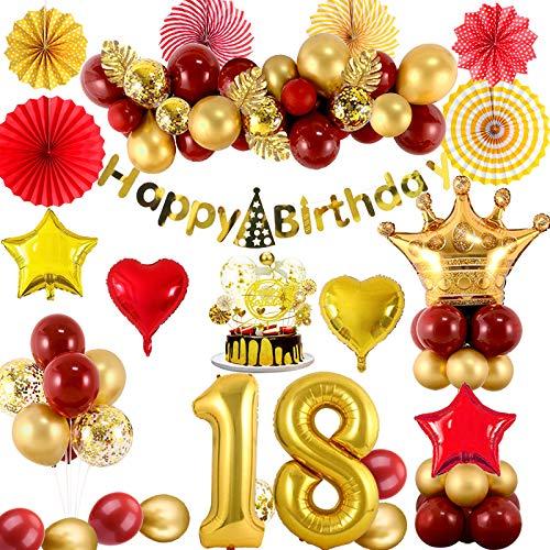 SPECOOL 18 Décorations d'anniversaire pour Femmes, Arc De Ballon en Or Rouge Métallique avec Bannière, Ballons en Feuille De Confettis, Gâteau, Éventails en Papier, Feuille De Tortue pour La Fête
