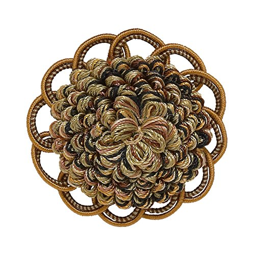 Decorative Rosette 64mm, BROWN GOLD / Baroque Collection Style# BR Color: GOLDEN CHESTNUT - 5207