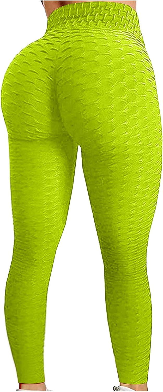 Hengshikeji Women's High Waist Yoga Pants Solid Stretchy Tummy Control Workout Running 4 Way Stretch Yoga Leggings