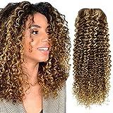 Hetto 10 pulgada 4 Marrón Highlights con 27 Blonde Cabeza Entera Oculta Clip in Hair Extensions Rizado Natural Clip in Human Hair Extensions para Chicas Sexys