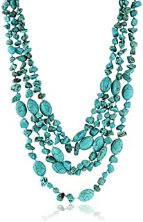 Best 20 Inch Stunning 3 Strands Green Simulated Turquoise Necklace with Toggle Clasp Review