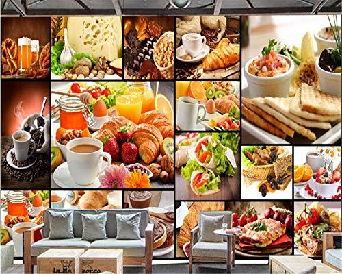 3D Tapete Tapete Brot Backen Milch Tee Dessert Shop Coffeeshop Hintergrund Wand Papel Tapiz Hudas Schönheit,400 * 280Cm