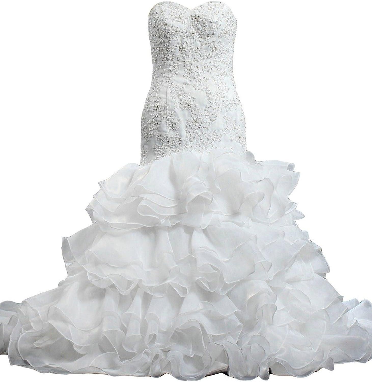 ANTS Crystal Lace Ruffles Organza Wedding Dresses Mermaid