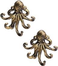 YARNOW 2pcs Ocean Animal Wall Hook Retro Golden Iron Art Octopus Fish Sculpture Bag Purse Wall Hook Heavy Duty Robe Hat Ha...