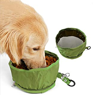 Kalining Large Portable Dog Bowl Collapsible for Food and Water,Dog Travel Bowl Polyester Dish Suitable Poodle/Husky/Alask...