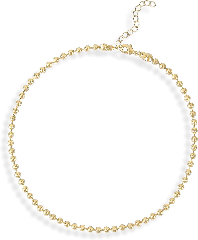 Gokeey Beaded Choker Necklace for Women Small Simple Gold Bead Choker Necklace Ball Chain Necklace