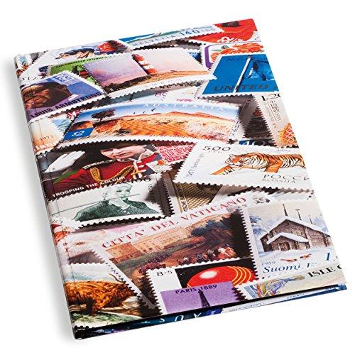 Leuchtturm Briefmarken-Sammel-Album, Einsteckbuch Stamp DIN A4, 32 Schwarze Seiten, unwattierter Einband