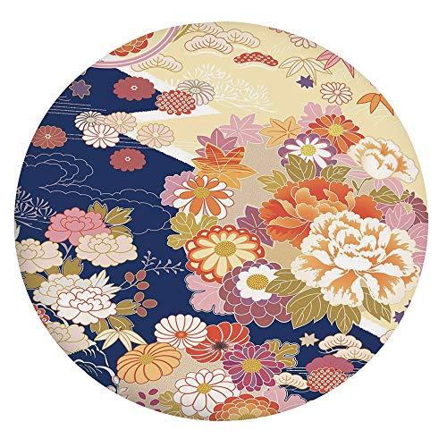 Mantel ajustable de poliéster con bordes elásticos, diseño de kimono tradicional, composición étnico, estampado floral,...