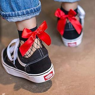 YMKXXB, Calcetines De Tobillo Cortos De Malla Negra Sexy para Mujer Calcetines De Rejilla De Navidad para Niñas con Calcetines De Lazo Lindo para Mujer Talla Única Negro Rojo