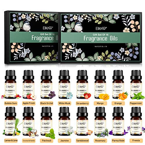 Elite99 Aceites de Fragancia, Aceites Esenciales para Humidificadores, Aceites de Aromaterapia de 16 Sabores de Flores y Frutas, Romero, Sándalo, Limón, Naranja, Jazmín, Menta, 10ML