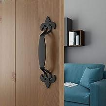 MING Schuur deurklink | Zwart ijzeren deurklink | Gietijzeren schuifdeurklink met schroeven