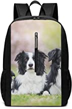 Large Laptop Backpack, Waterproof Business Carry On Backpack for Men Women, College School Durable Computer Bookbag,Water Bottle Pockets Daypack - Border Collie Dog Family