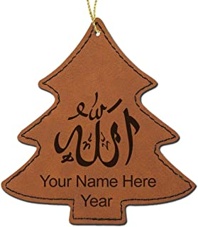LaserGram Faux Leather Christmas Ornament, Allah 1, Personalized Engraving Included (Dark Brown Tree)