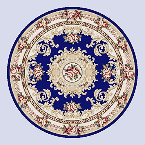 Rollsnownow Ronde Carton mélangé Rond 100 * 100 cm Plante Motif Floral Salon Table Basse Table d'étude Table Ronde Ronde Ciseaux Tapis 1,5 cm d'épaisseur rétro Style