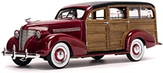 Chevrolet 1939 Woody Surf Wagon Permanent Red with Surf Board and Real Wood 1/18 by Sunstar 6176