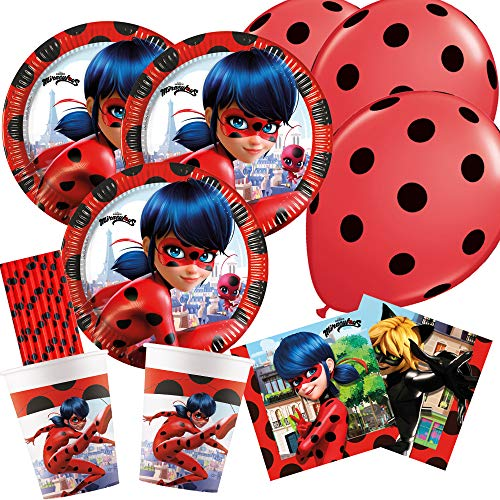 spielum 50-teiliges Party-Set Miraculous Ladybug - Teller Becher Servietten Trinkhalme Luftballons für 8 Kinder