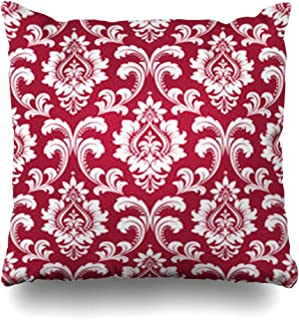 YeaSHARK Throw Pillow Covers Flower Floral Pattern Baroque Damask Red White Graphic Tile Abstract Vintage Drapery Old Royal Zippered Design Square 18