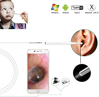 Digital Otoscope, 2020 New Upgrade 3.9mm Diameter Visual Ultra-Slim HD Ear Scope Camera Ear Cleaner with Ear Wax Removal Tool and 6 Adjustable LED Lights for Android, Window and Mac